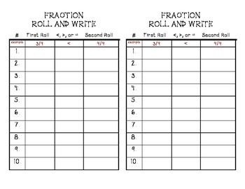 FRACTIONS! Roll and Write Dice Game