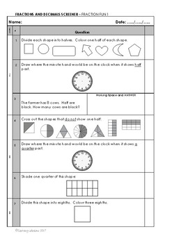 FRACTIONS Screener - Fraction Fun 1 - Year 2 Skills + Answers + Class Overview