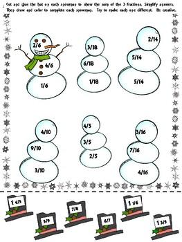 fractions winter math snowmen 4th 5th grade by 4everteacheranna. Black Bedroom Furniture Sets. Home Design Ideas