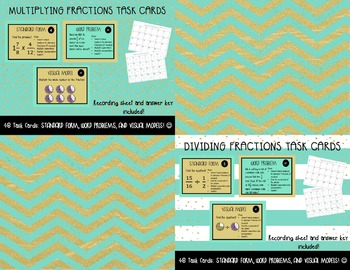 FRACTIONS TASK CARDS BUNDLE: ADDING, SUBTRACTING, MULTIPLYING, AND DIVIDING