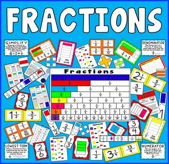 FRACTIONS TEACHING RESOURCES KS2 KS3 KS4 MATHS NUMERACY DISPLAY