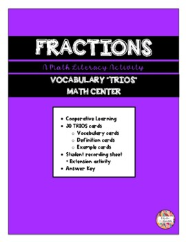 FRACTIONS - Vocabulary Trios Math Center  (Math Literacy)