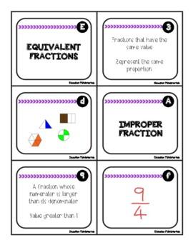 FRACTIONS - Vocabulary Trios Math Center  (Math Literacy)