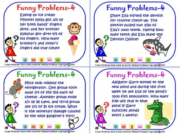 FRACTIONS! WORD PROBLEMS MULTI STEP, BOOK – 4, 28 Task Cards, 5-7