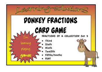 FRACTIONS of a COLLECTION Set 3  - DONKEY CARD GAME