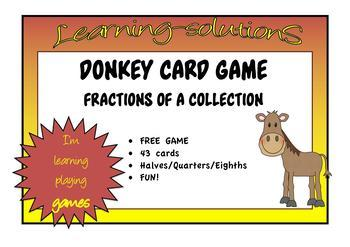 FRACTIONS of a COLLECTION Set 4 - DONKEY CARD GAME - Fraction Multiples