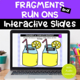 FRAGMENTS & RUN-ONS Interactive Google Slides for Distance