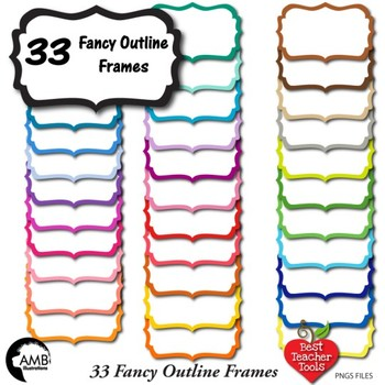 FRAMES Clipart, 33 Colors Outline Frames {Best Teacher Tools} AMB-1912