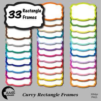 FRAMES Clipart, 33 Colors Rectangle Frames (Best Teacher Tools) AMB-1912