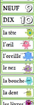 FRANCAIS/FRENCH-COULEURS, NOMBRES, PARTIES DU CORPS/Colors, Numbers, Body Parts
