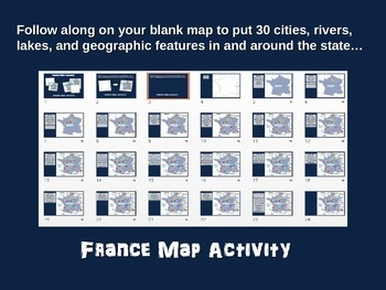 FRANCE Map Activity- fun, engaging, follow-along 24-slide PPT