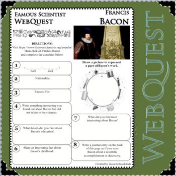 FRANCIS BACON Science WebQuest Scientist Research Project Biography Notes