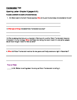 Frankenstein questions and test adapted version by lesson plan dude frankenstein questions and test adapted version fandeluxe Image collections