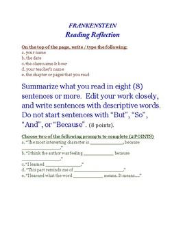 FRANKENSTEIN Reading Reflection