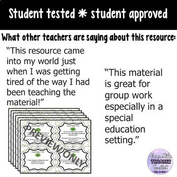 FRANKENSTEIN Discussion and Writing Prompts Task Cards
