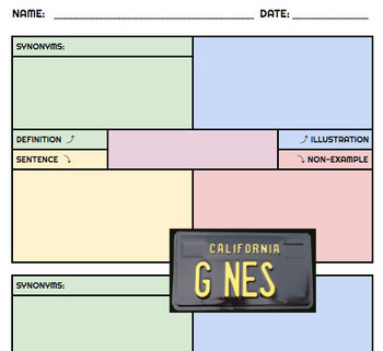 FRAYER MODEL TEMPLATE for VOCABULARY