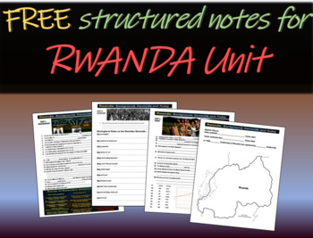 FREE Structured notes and map on Rwanda (background, genocide, today, & map)