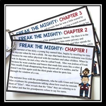 FREAK THE MIGHTY CHAPTER SUMMARY CARDS