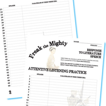 FREAK THE MIGHTY Essay Prompts & Grading Rubrics
