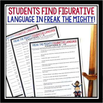 FREAK THE MIGHTY FIGURATIVE LANGUAGE ASSIGNMENTS