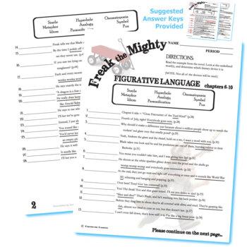 FREAK THE MIGHTY Figurative Language Analyzer (96 quotes)