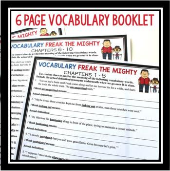 FREAK THE MIGHTY VOCABULARY PRESENTATION & BOOKLET