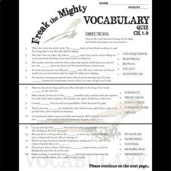 freak the mighty vocabulary list and quiz chap by created freak the mighty vocabulary list and quiz chap 1 9