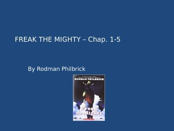 FREAK THE MIGHTY by Rodman Philbrick NOVEL UNIT