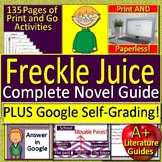 Freckle Juice Novel Study Unit Print AND Paperless Google Ready w/ Self-Grading
