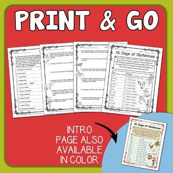 Christmas Math.12 Days Of Christmas Math Word Problems Free