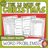 12 Days of Christmas Math Word  Problems  FREE!