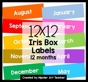 FREE 12x12 Iris bin Labels- 12 colorful month labels