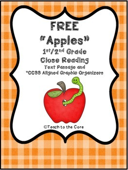 """FREE 1st/2nd Grade """"Apples"""" Close Reading Text and Graphic Organizers"""