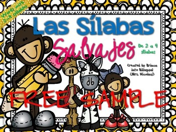 FREE 2-4 Syllables SAMPLE in SPANISH - GRATIS Unidad de 2-4 silabas Grades PK-2