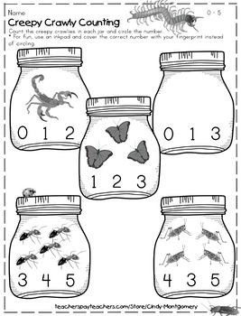FREE 2 Creepy Crawly Counting Sets 0 -10 Printables