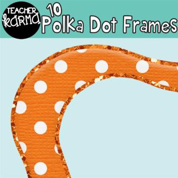 Polka Dotted Frames / Borders trimmed in GLITTER