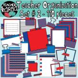 Teacher Organization & Planning Clipart BUNDLE, red & blue