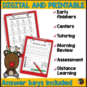 FREE- 2 Holiday pages with answer keys from December No Prep Grade 3 Math