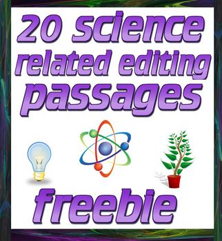 FREE 20 science passages for conventions editing