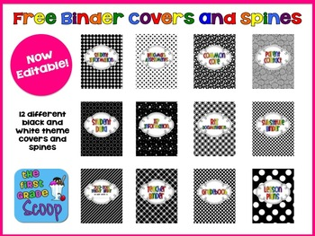 free 2013 2014 editable black and white themed teacher binder covers