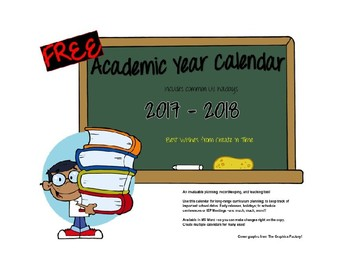 FREE 2017-2018 School Year Organizational Calendar MS Word Format