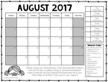 FREE 2016-2017 Clip Chart Behavior Calendars in English and Spanish
