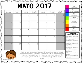 FREE 2016-2017 Clip Chart Behavior Calendars in English and Spanish