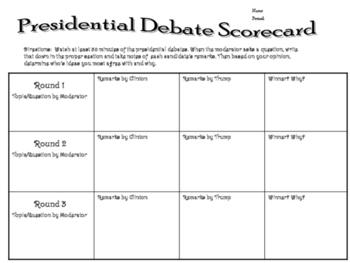 FREE! 2016 Presidential Debate Analysis Chart(Civics)