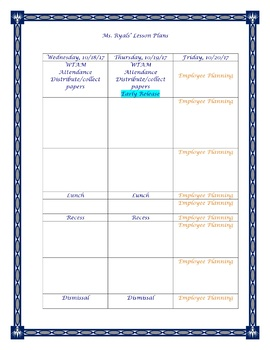Broward Florida Lesson Plan Template Editable Schedule - Lesson plan schedule template