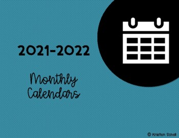 FREE 2017-2018 School Year Monthly Calendars