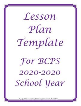 FREE 2018 2019 Broward Florida Lesson Plan Template Editable Schedule Outline