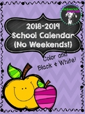 FREE 2018-2019 Calendar- No Weekends!