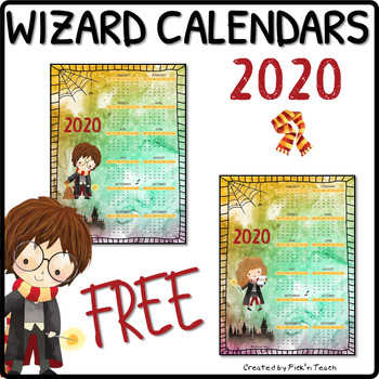 FREE 2020 calendars for Harry Potter fans, color background