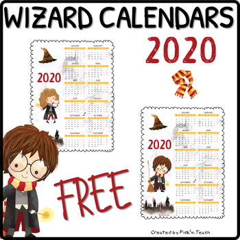 FREE 2020 calendars for Harry Potter fans, white background